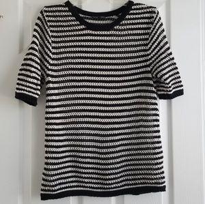 Zara Black & White Striped Loosely Knit Top